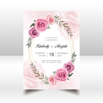 Wedding invitation card template with watercolor floral