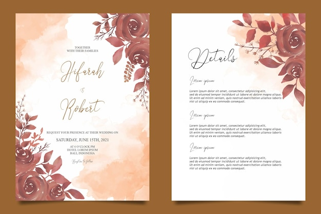 Wedding invitation card template with watercolor flower decoration and detail card