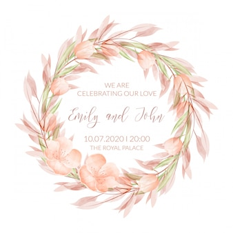 Wedding invitation card template with watercolor flowers