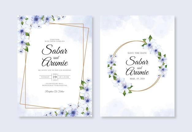 수채화 foral 결혼식 초대 카드 템플릿