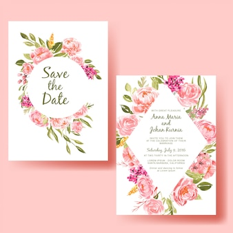 Wedding invitation card template with watercolor frame peach flower