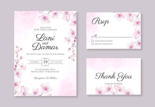 Wedding invitation card template with watercolor hand painted cherry blossoms and splash