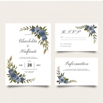 Wedding invitation card template with watercolor purple rose decoration
