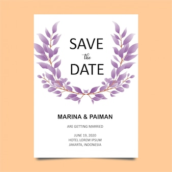Wedding invitation card template with watercolor style leaves