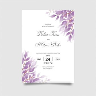 Wedding invitation card template with watercolor style purple leaf decoration