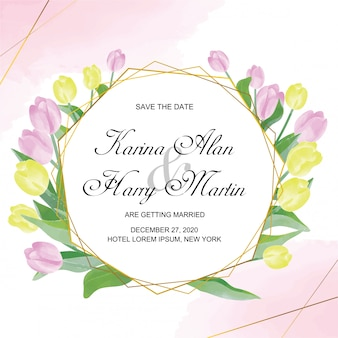Wedding invitation card template with watercolor tulip style