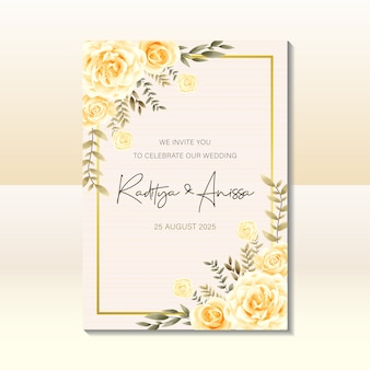 Wedding invitation card template with watercolor vintage style