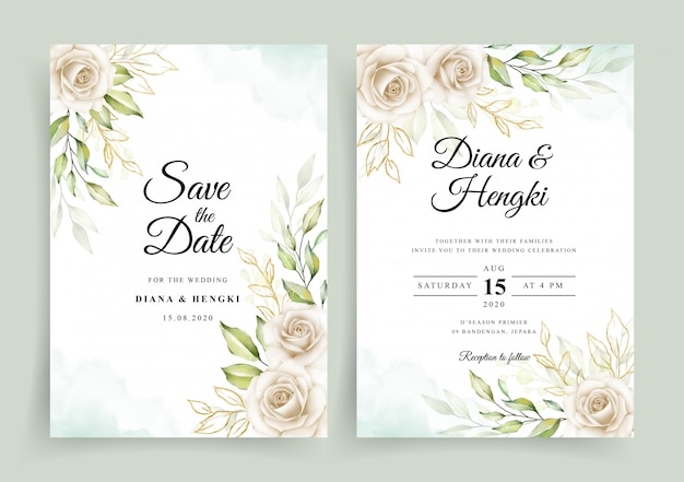 Wedding invitation card template with white floral watercolor