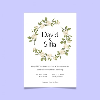Wedding invitation card template with white roses