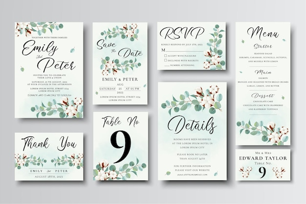 Wedding invitation card templates set