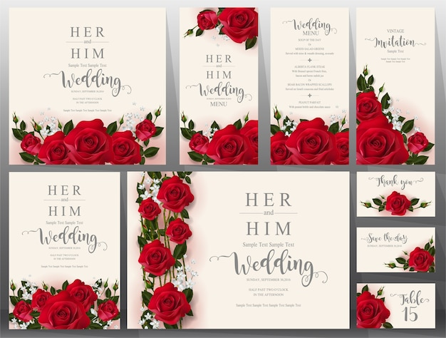 Wedding invitation card templates set.