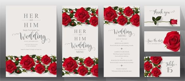 Wedding invitation card templates set.