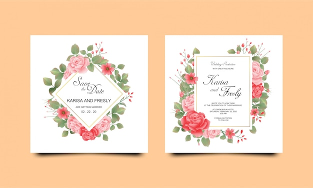 Wedding invitation card templates with beautiful watercolor roses