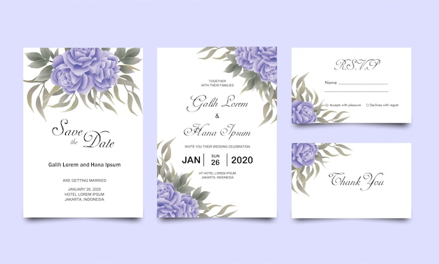 Wedding invitation card templates with blue rose green leaves watercolor style decoration