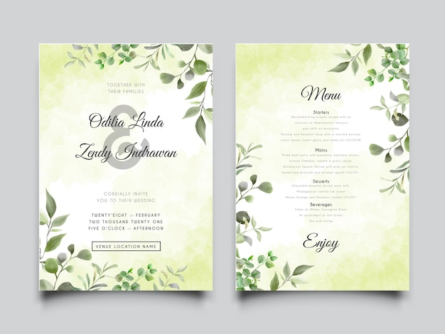 Wedding invitation card templates with greenery leaves