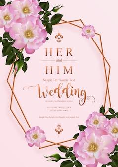 핑크 장미와 꽃 결혼식 초대 카드 템플릿.