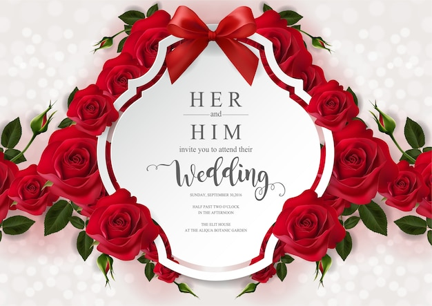Wedding invitation card templates with realistic of beautiful rose