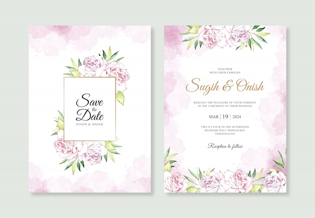 Wedding invitation card templates with watercolor flowers and splashes
