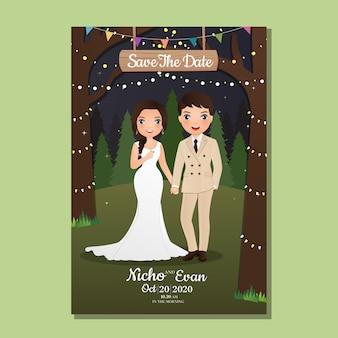 Свадебная пригласительная открытка жених и невеста милая пара мультяшный с пейзаж красивый в весеннее время фон