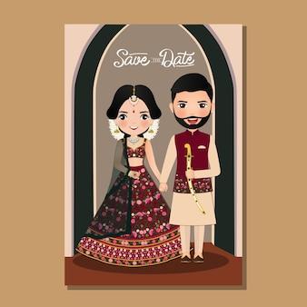 결혼식 초대 카드 신부와 신랑 전통적인 인도 드레스 만화 캐릭터 벡터 일러스트 레이 션에 귀여운 커플