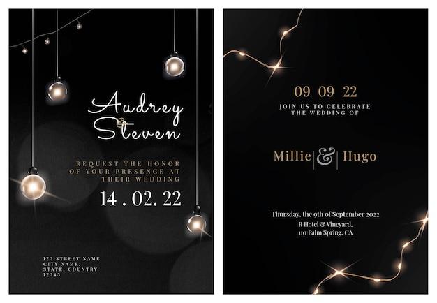 Modello modificabile di vettore della carta dell'invito di nozze con la bella collezione di luci