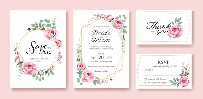 Wedding invitation card. vector. queen of sweden rose.