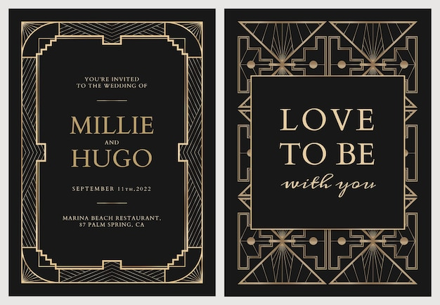 Wedding invitation card vector template with geometric art deco style on dark background