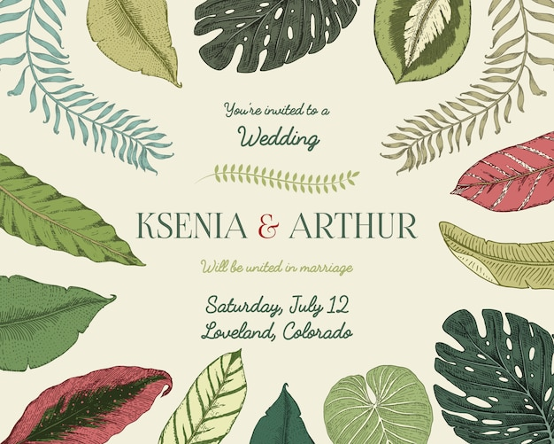 Wedding invitation card, vintage engraved template for marriage