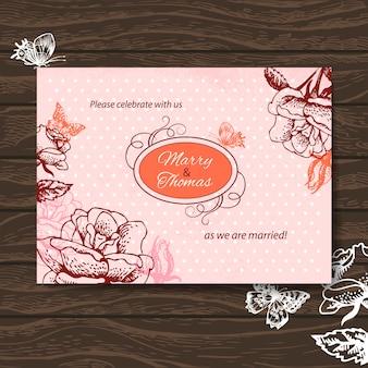 Свадебные приглашения. винтажная иллюстрация с рисованной розами и бабочкой