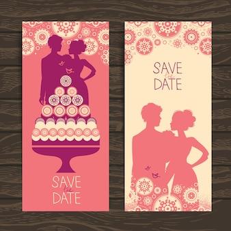 結婚式の招待カード。新婚夫婦とケーキのヴィンテージイラスト