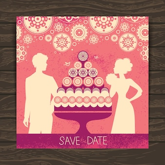 結婚式の招待カード。新婚のシルエットとケーキのヴィンテージイラスト