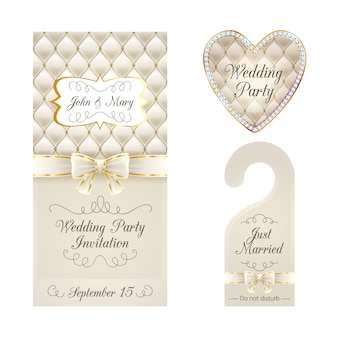 Wedding invitation card, warning hanger and badge.