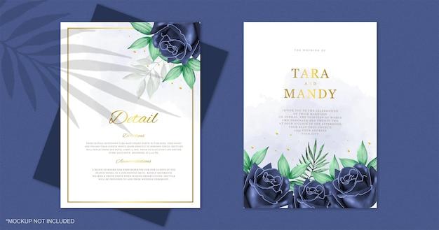 青いバラと結婚式の招待カードの水彩画