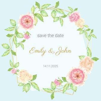 結婚式の招待カード。ゴールドフレームの水彩画の美しいイングリッシュローズフラワーブーケリース