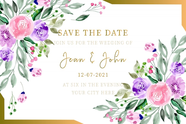 Wedding invitation card watercolor floral with gold frame