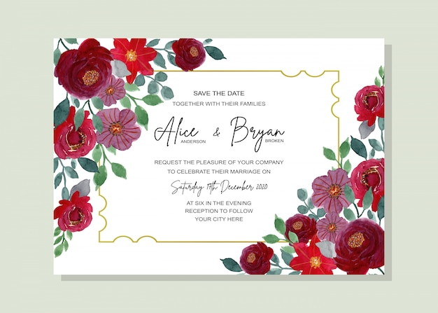 Wedding invitation card watercolor floral with golden frame