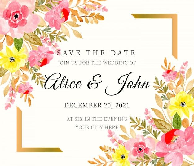 Wedding invitation card watercolor floral