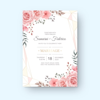 Wedding invitation card watercolor flower template