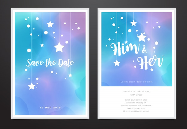 Wedding invitation card in watercolor galaxy design