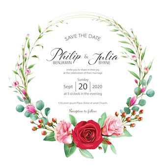 Wedding invitation card. watercolor style. vector.