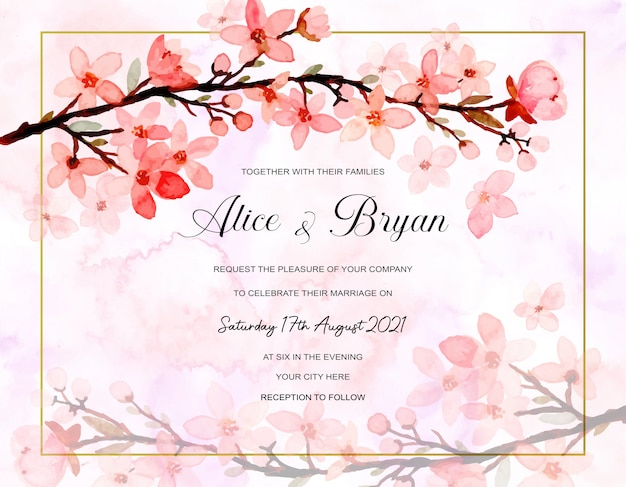 Wedding invitation card with abstract cherry blossoms watercolor background