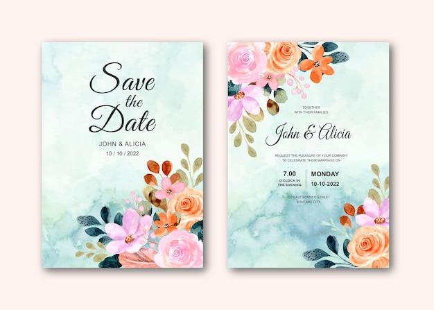 추상적 인 꽃 수채화와 결혼식 초대 카드