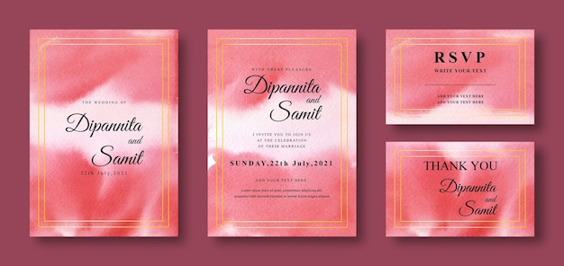 Wedding invitation card with abstract red background