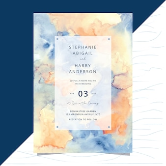 Wedding invitation card with abstract watercolor background