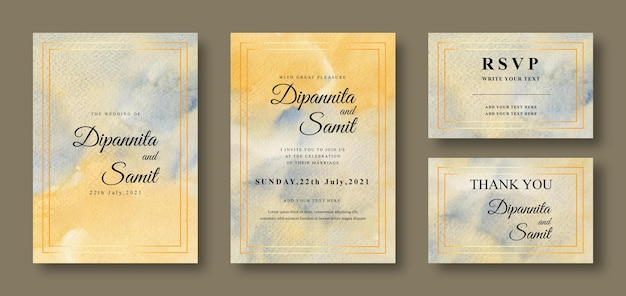 Wedding invitation card with abstract yellow and blue background