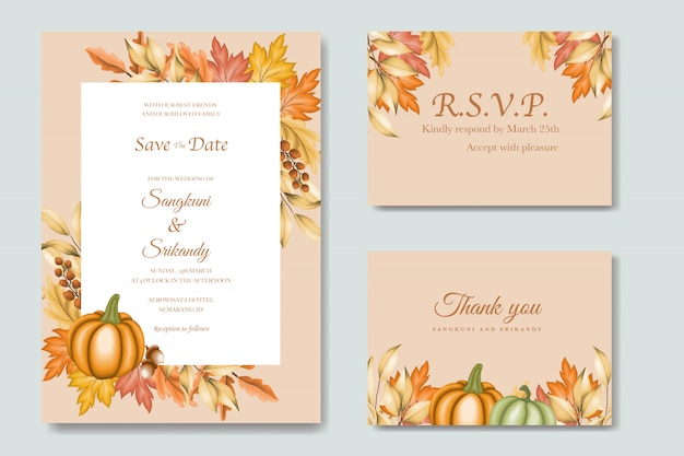 Wedding invitation card with autumn leaves