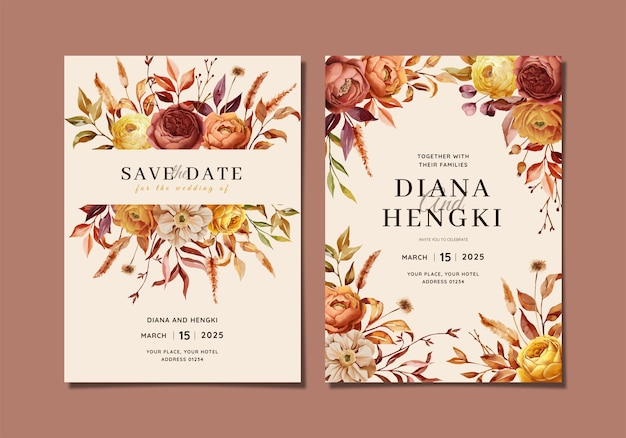 Wedding invitation card with autumn nature