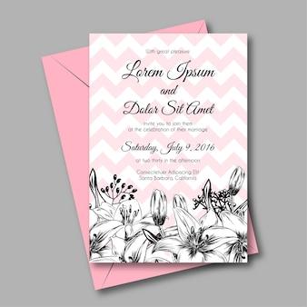 背景のピンクと花のユリの結婚式招待状