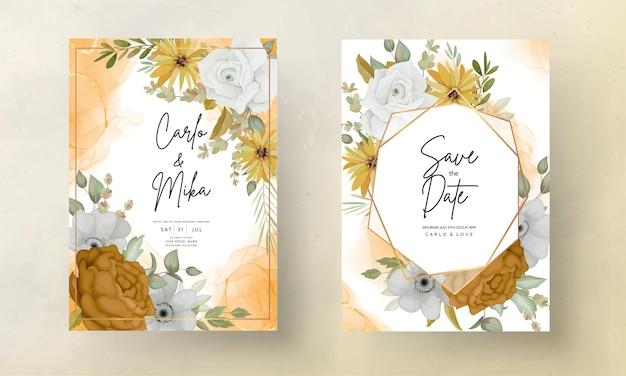 Wedding invitation card with beautiful autumn flowers