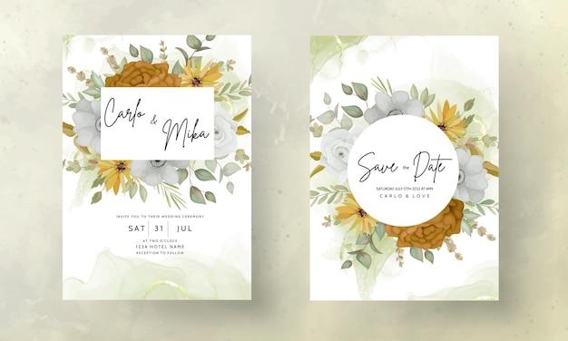 Свадебное приглашение с красивыми осенними цветами